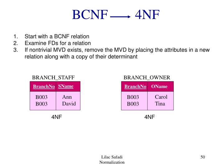 BCNF        4NF