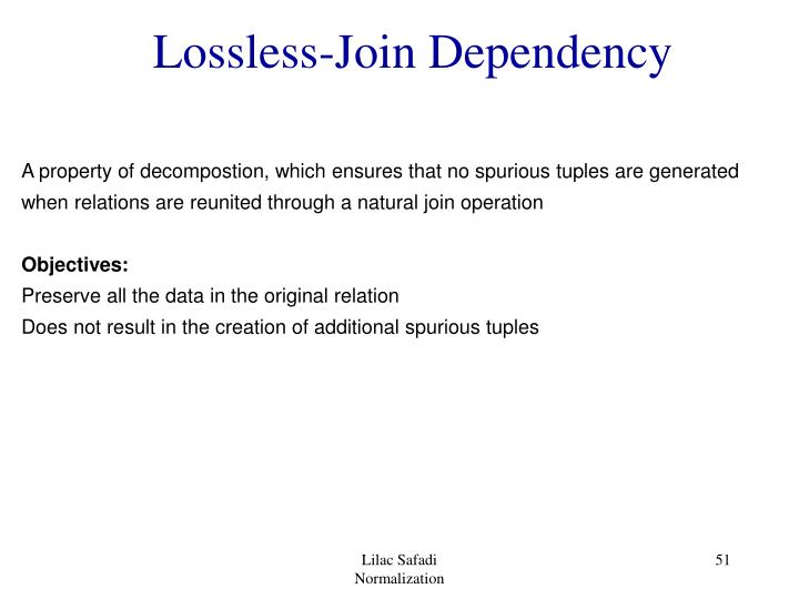 Lossless-Join Dependency