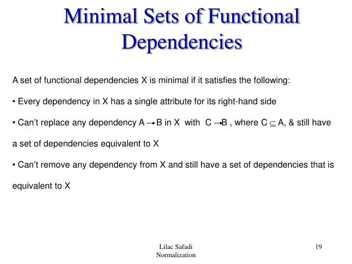 Minimal Sets of Functional Dependencies