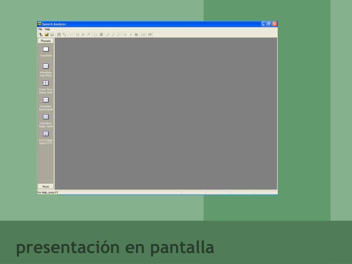 presentación en pantalla