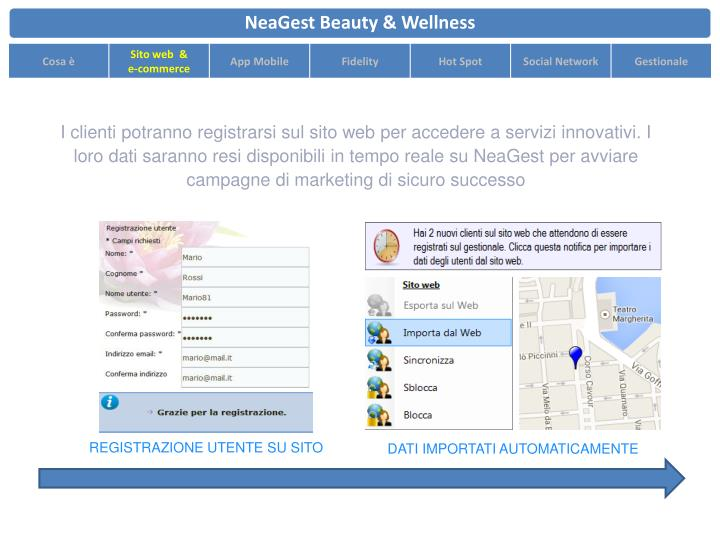 I clienti potranno registrarsi sul sito web per accedere a servizi innovativi. I loro dati saranno resi disponibili in tempo reale su NeaGest per avviare campagne di marketing di sicuro successo