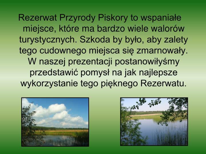 Rezerwat Przyrody Piskory to wspaniałe miejsce, które ma bardzo wiele walorów turystycznych. Szkoda by było, aby zalety tego cudownego miejsca się zmarnowały. W naszej prezentacji postanowiłyśmy przedstawić pomysł na jak najlepsze  wykorzystanie tego pięknego Rezerwatu.