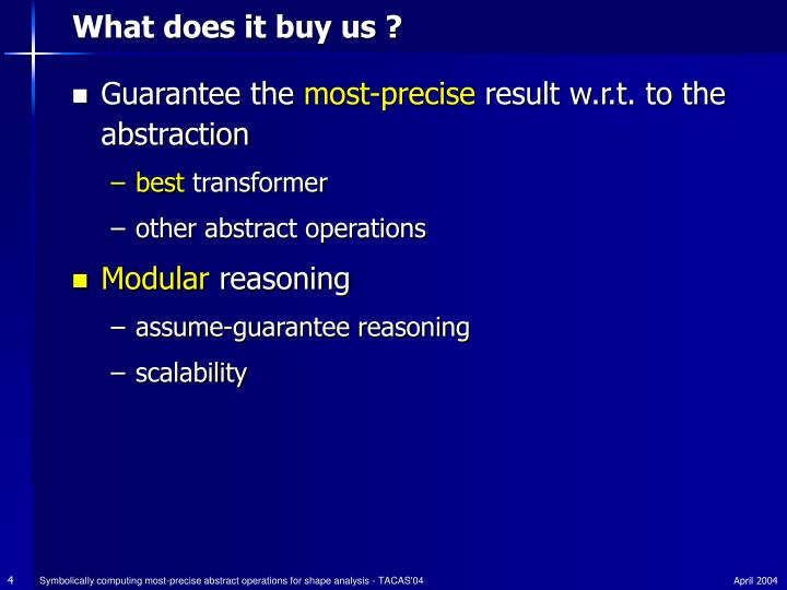 What does it buy us ?