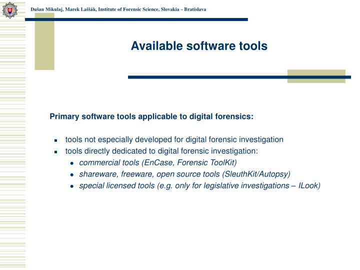 Available software tools