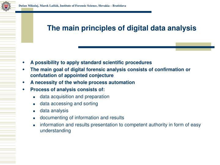 The main principles of digital data analysis
