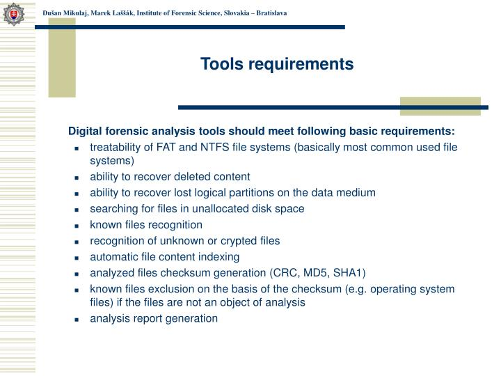 Tools requirements