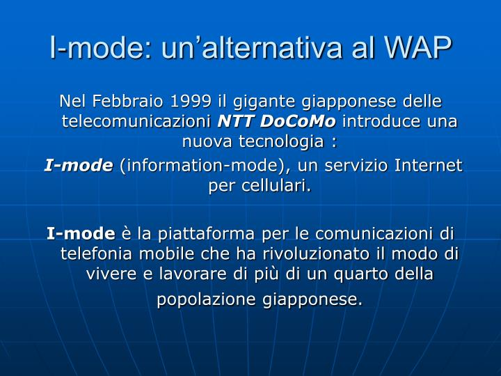 I-mode: un'alternativa al WAP