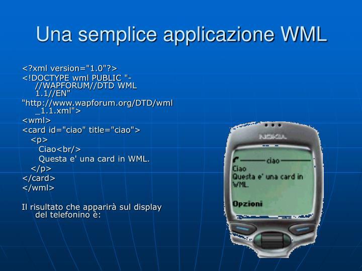 Una semplice applicazione WML