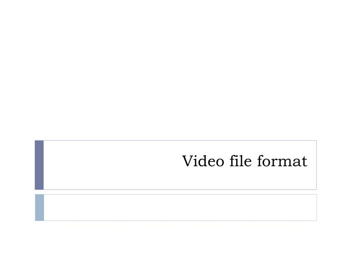 Video file format