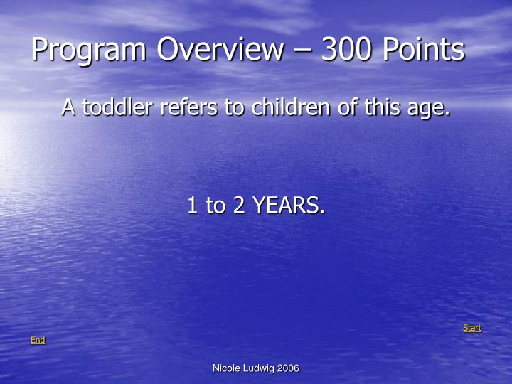 Program Overview – 300 Points