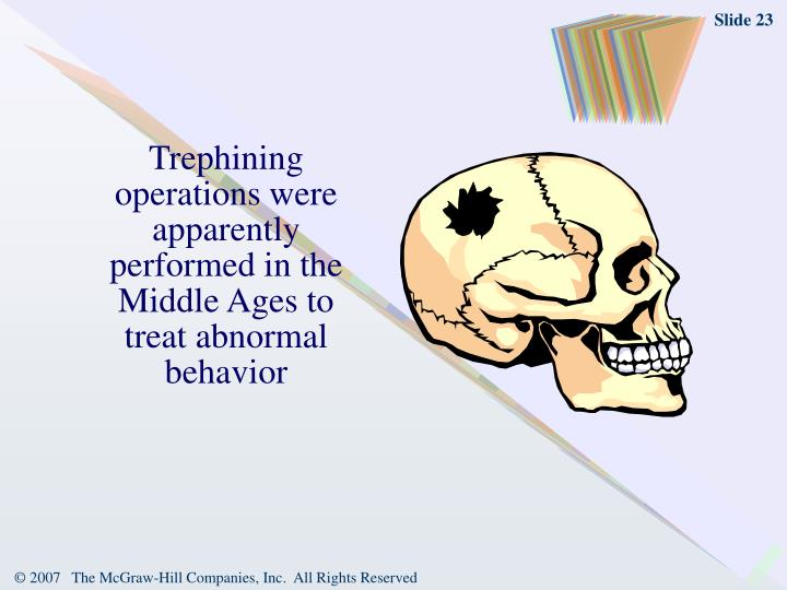Trephining operations were apparently performed in the Middle Ages to treat abnormal behavior