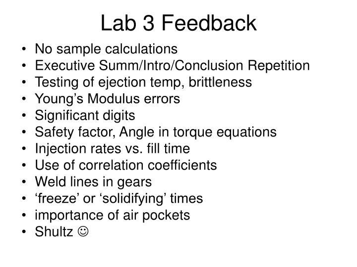 Lab 3 Feedback