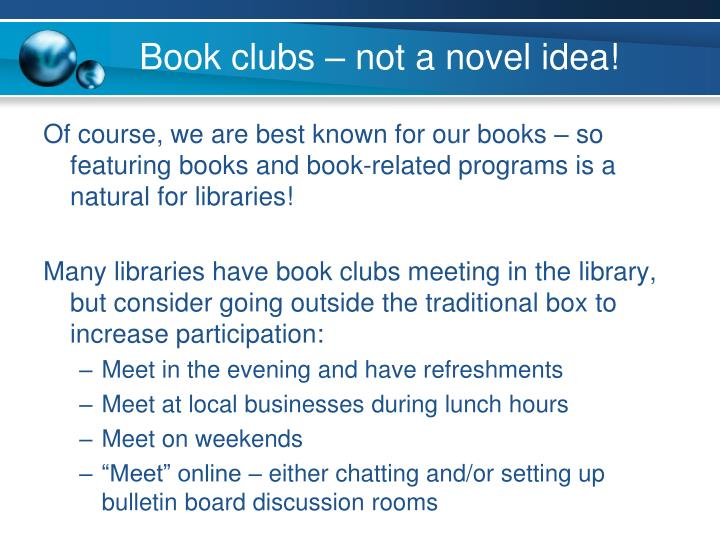 Book clubs – not a novel idea!