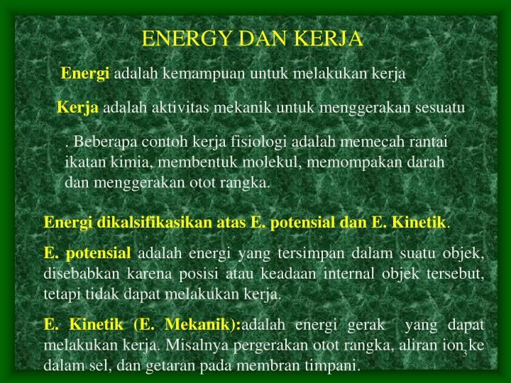 ENERGY DAN KERJA