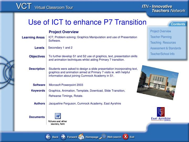 ICT; Problem-solving; Graphics Manipulation and use of Presentation Software.