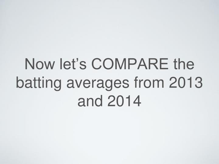 Now let's COMPARE the batting averages from 2013 and 2014