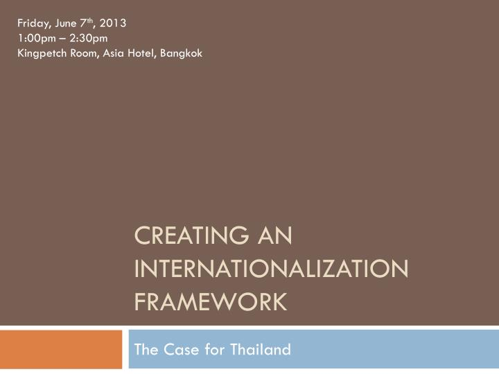 Creating an internationalization framework