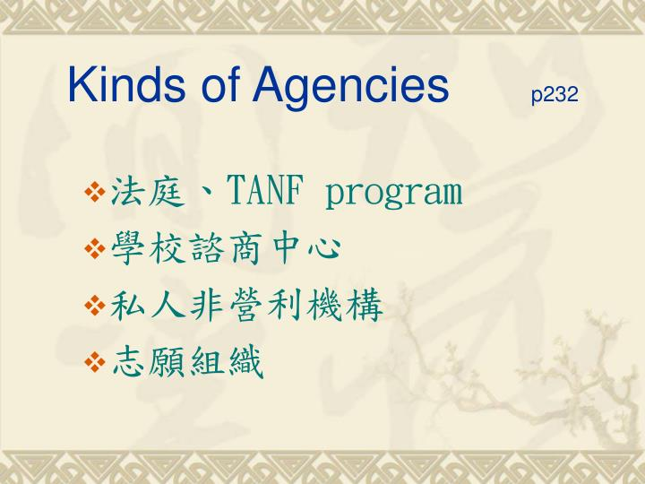 Kinds of Agencies