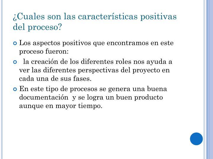 ¿Cuales son las características positivas del proceso?