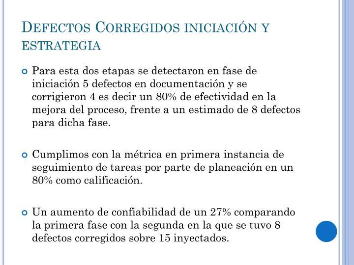 Defectos Corregidos iniciación y estrategia