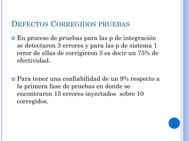 Defectos Corregidos pruebas