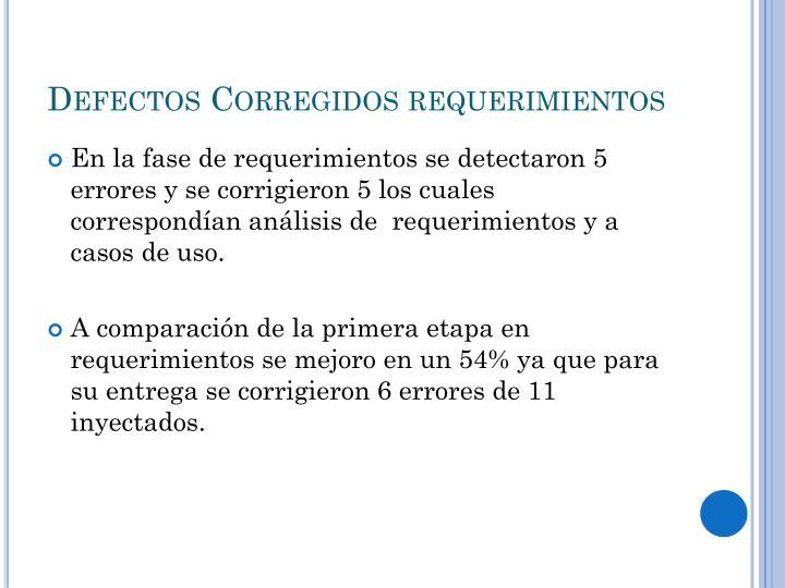 Defectos Corregidos requerimientos