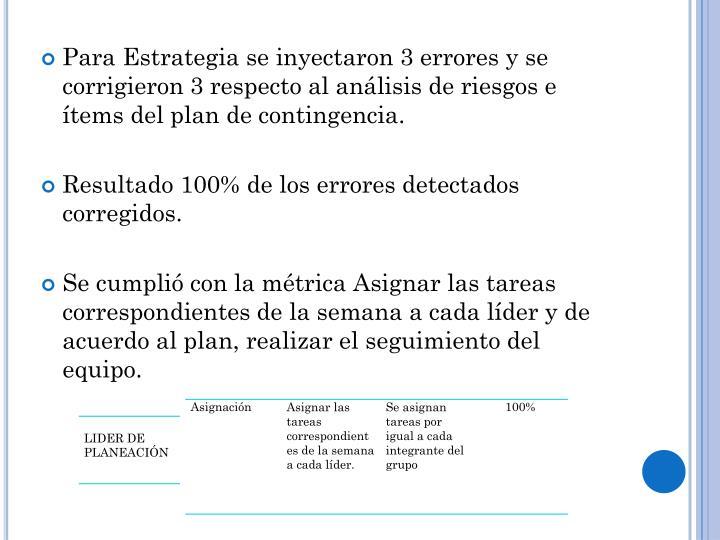 Para Estrategia se inyectaron 3 errores y se corrigieron 3 respecto al análisis de riesgos e ítems del plan de contingencia.