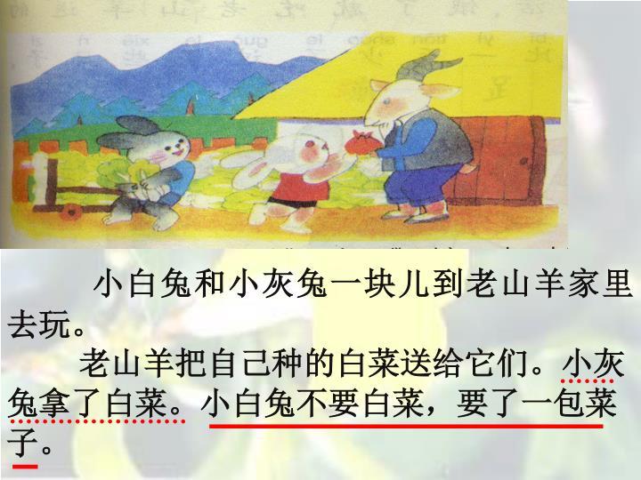 小白兔和小灰兔一块儿到老山羊家里去玩。