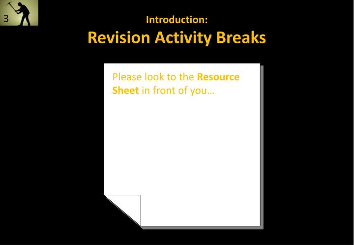 Introduction revision activity breaks
