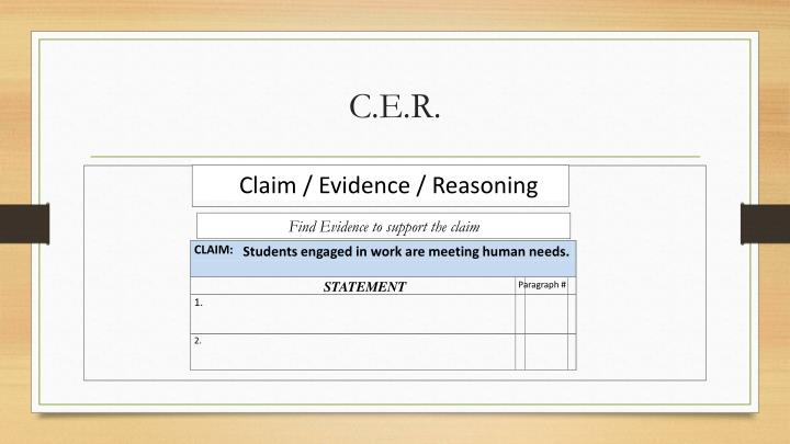Claim / Evidence / Reasoning