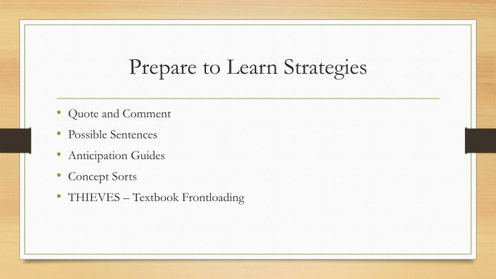 Prepare to Learn Strategies