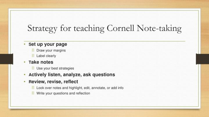 Strategy for teaching Cornell Note-taking