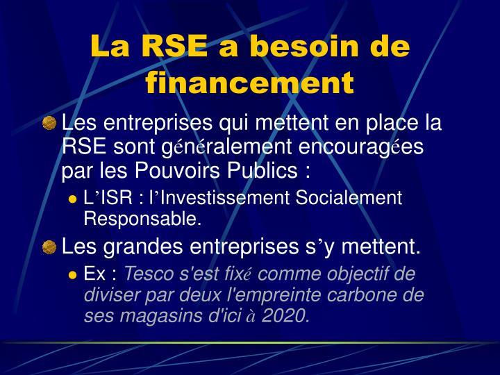La RSE a besoin de financement