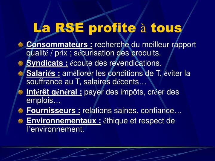 La RSE profite