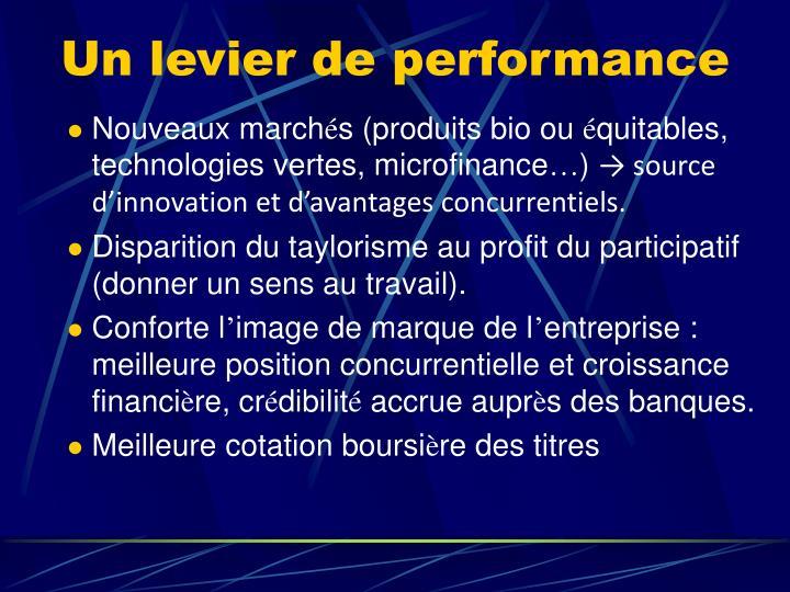 Un levier de performance