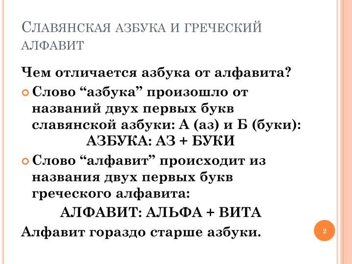 Славянская азбука и греческий алфавит