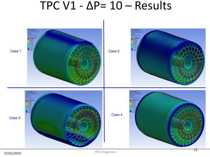 TPC V1 - ∆P= 10 – Results
