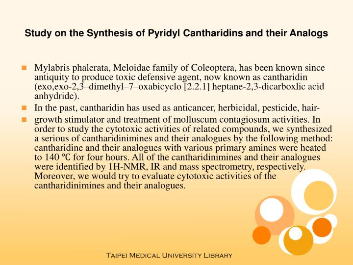 Study on the synthesis of pyridyl cantharidins and their analogs