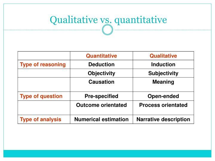 Qualitative vs. quantitative