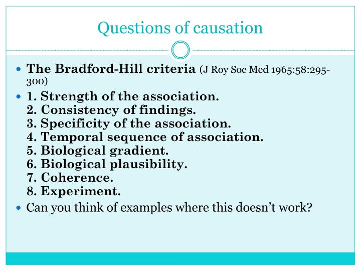 Questions of causation