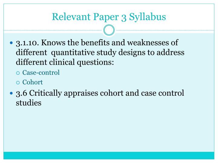 Relevant Paper 3 Syllabus