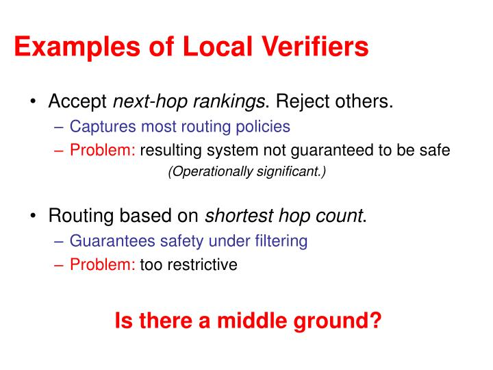 Examples of Local Verifiers