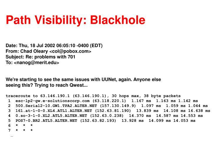 Path Visibility: Blackhole