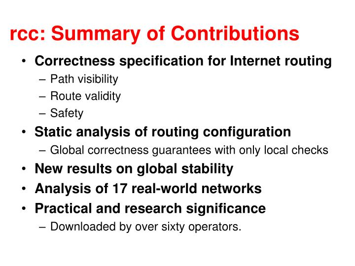 rcc: Summary of Contributions