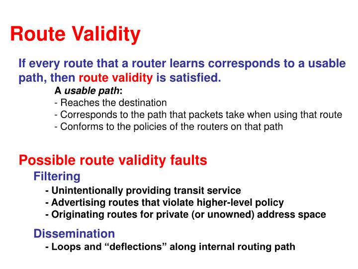 Route Validity
