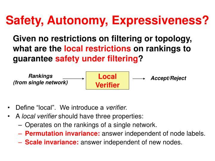 Safety, Autonomy, Expressiveness?