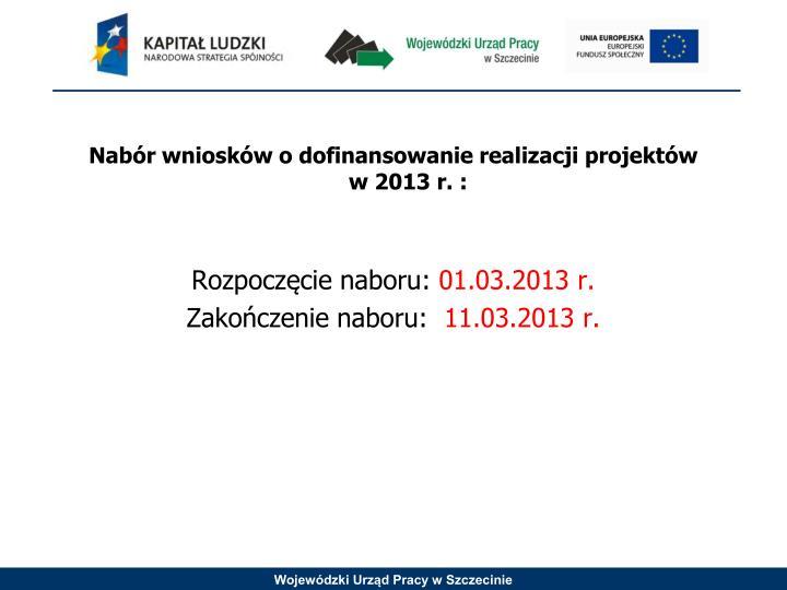 Nabór wniosków o dofinansowanie realizacji projektów