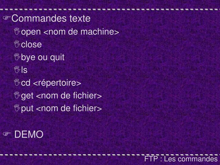 Commandes texte