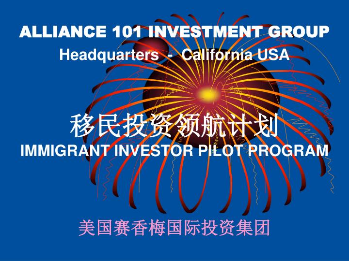 ALLIANCE 101 INVESTMENT GROUP