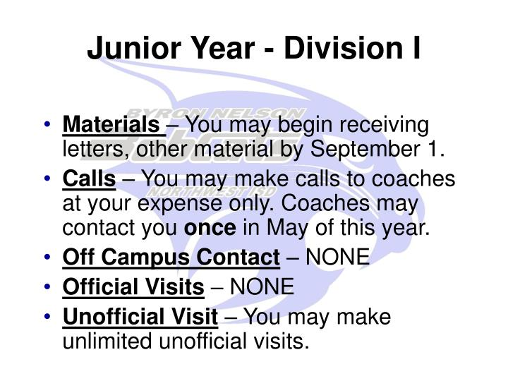 Junior Year - Division I